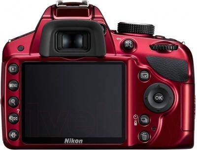 Зеркальный фотоаппарат Nikon D3200 Kit 18-55mm VR II (красный) - вид сзади