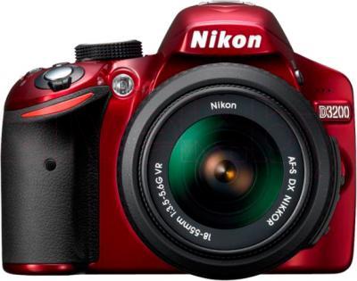 Зеркальный фотоаппарат Nikon D3200 Kit 18-55mm VR II (красный) - вид спереди