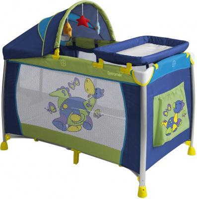 Кровать-манеж Lorelli Dreamer 2 Layers Plus (Dinos Blue) - общий вид