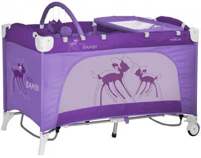 Кровать-манеж Lorelli Travel Kid 2 (Rocker Violet Miss Bambi) - общий вид