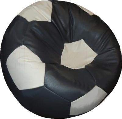 Бескаркасное кресло Baggy Футбольный мяч Медиум (бело-серое) - общий вид