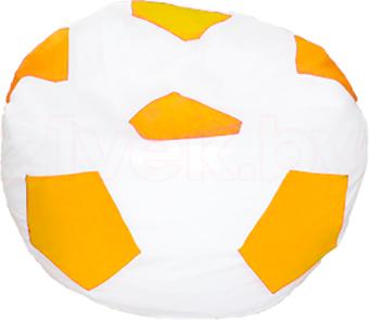 Бескаркасное кресло Baggy Футбольный мяч Стандарт (бело-желтое) - общий вид