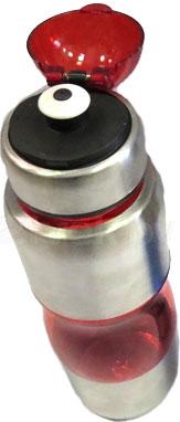 Спортивная бутылка NoBrand Comb (красный) - с открытой крышкой