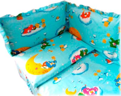 Бампер Ночка Мишки на облаках (голубой) - простыня и наволочка в комплект не входят