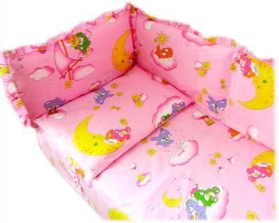Бампер Ночка Мишки на облаках (розовый) - простыня и наволочка в комплект не входят