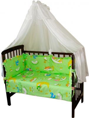 Комплект в кроватку Ночка Мишки на облаках 4 (салатовый) - балдахин в комплект не входит