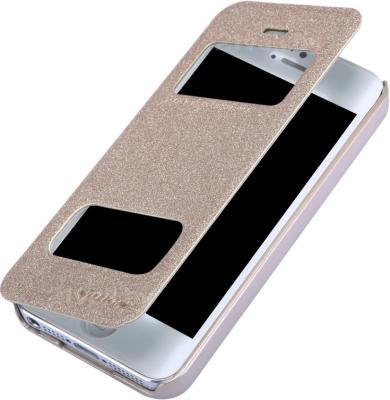 Чехол-флип Nillkin Sparkle Champaign Gold (для Apple Iphone 5/5S) - в полуоткрытом виде