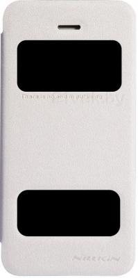 Чехол-флип Nillkin Sparkle White (для Apple Iphone 5/5S) - общий вид на телефоне