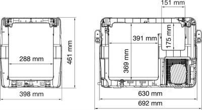 Автохолодильник Waeco CoolFreeze CFX-40 - габаритные размеры