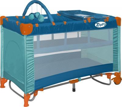 Кровать-манеж Lorelli Zippy 2 Plus Rocker (Aquamarine) - общий вид