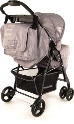 Детская прогулочная коляска Lider Kids B110 (Turquoise-Gray) - вид сзади (цвет серый)