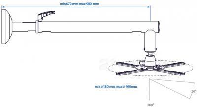 Кронштейн для проектора Arm Media PROJECTOR-8 (Black) - габаритные размеры