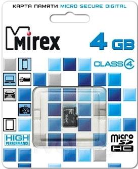 Карта памяти Mirex microSDHC (Class 4) 4GB (13612-MCROSD04) - общий вид