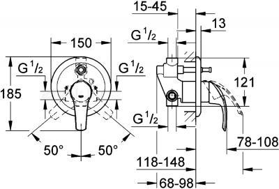 Смеситель GROHE Eurosmart 33305001 - схема
