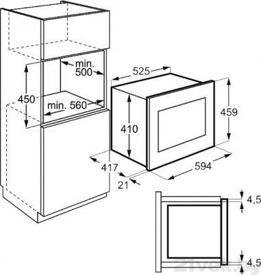 Микроволновая печь Electrolux EMS26204OX - схема встраивания