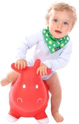 Игрушка-прыгун KidzzFarm Коровка Бетси (белая с черным) - ребенок на игрушке