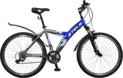 Велосипед Stels Navigator 570 (Black-Chrome-Blue) - общий вид