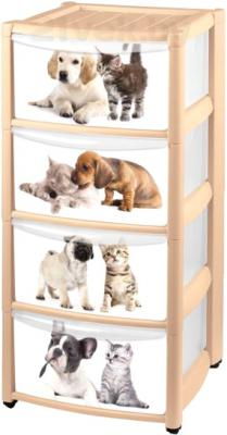 Комод пластиковый Пластишка Кошки-Собаки 4312866 (4 ящика) - общий вид