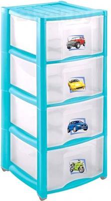 Комод пластиковый Пластишка 4313425 (4 ящика, голубой) - общий вид