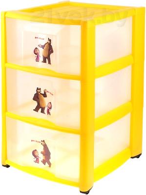 Комод пластиковый Пластишка Маша и Медведь 4313795 (3 ящика, желтый) - общий вид