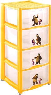 Комод пластиковый Пластишка Маша и Медведь 4313796 (4 ящика, желтый) - общий вид