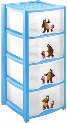 Комод пластиковый Пластишка Маша и Медведь 4313796 (4 ящика, голубой) - общий вид