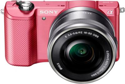 Беззеркальный фотоаппарат Sony ILCE-5000L (розовый) - общий вид