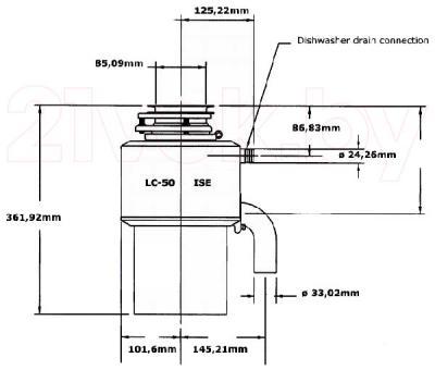 Измельчитель отходов InSinkErator LC-50 - габаритные размеры