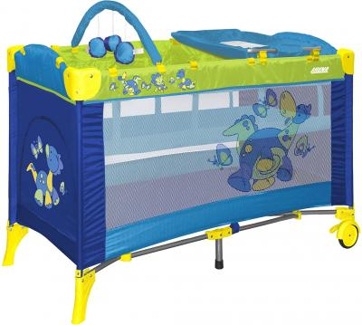 Кровать-манеж Lorelli Arena 2 Layers Plus (Dinos Blue) - общий вид
