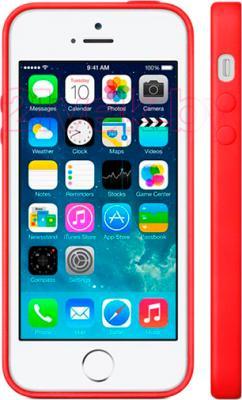 Накладной чехол Apple iPhone 5s Case MF046ZM/A (красный) - вид на телефоне спереди и сбоку
