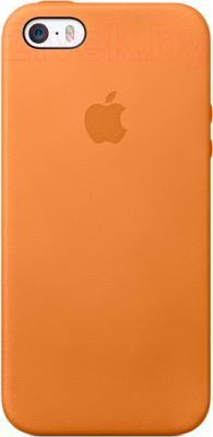 Накладной чехол Apple iPhone 5s Case MF041ZM/A (коричневый) - общий вид на телефоне