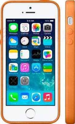Накладной чехол Apple iPhone 5s Case MF041ZM/A (коричневый) - вид на телефоне спереди и сбоку