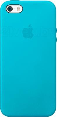 Накладной чехол Apple iPhone 5s Case MF044ZM/A (синий) - общий вид на телефоне