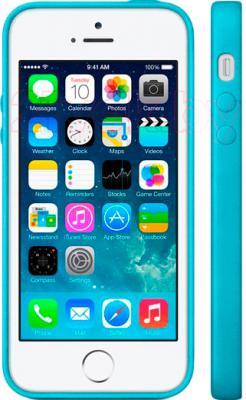Накладной чехол Apple iPhone 5s Case MF044ZM/A (синий) - вид на телефоне спереди и сбоку
