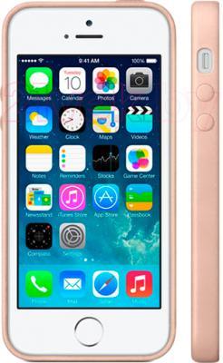 Накладной чехол Apple iPhone 5s Case MF042ZM/A (бежевый) - вид на телефоне спереди и сбоку