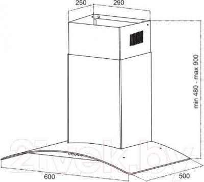Вытяжка купольная Germes Alt (белый) - технический чертеж