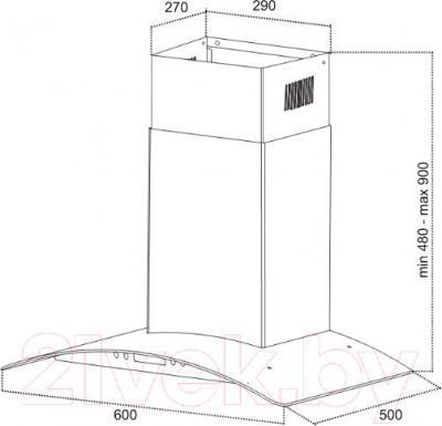 Вытяжка купольная Germes Alt Sensor 60 (белый) - технический чертеж