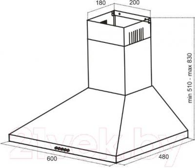 Вытяжка купольная Germes Piramida (60, коричневый) - технический чертеж