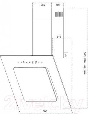 Вытяжка декоративная Germes Delta Sensor (50, черный) - технический чертеж