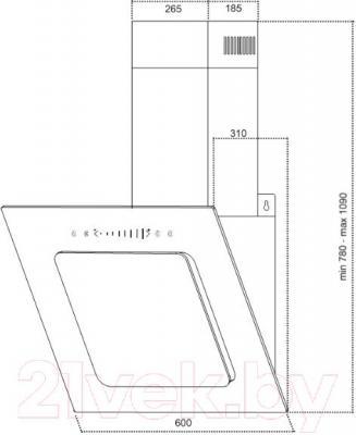 Вытяжка декоративная Germes Delta Sensor (60, черный) - технический чертеж