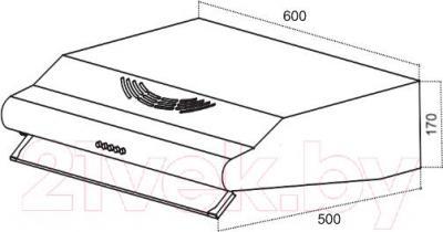 Вытяжка плоская Germes Slim (60, белый) - технический чертеж