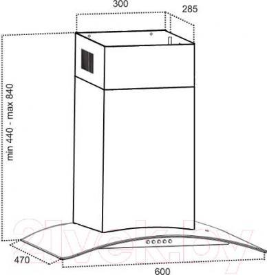 Вытяжка купольная Grand VERONA 60 (HC6236A-S) - технический чертеж