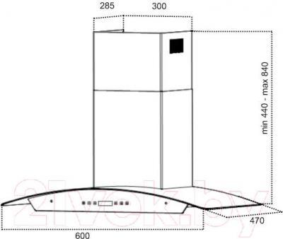 Вытяжка купольная Grand Verona Sensor 60 (HC6236A-S, нержавеющая сталь) - технический чертеж