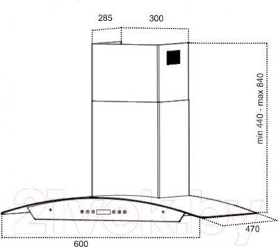 Вытяжка купольная Grand Verona Sensor 60 (HC6236A-S, черный) - технический чертеж