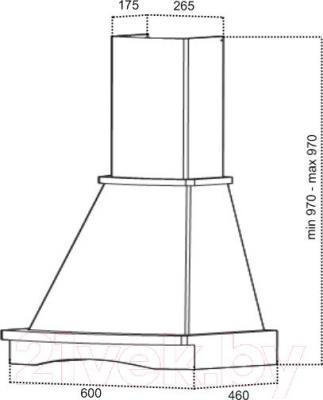Вытяжка купольная Grand Sevilla 60 (HC6290B-W) - технический чертеж