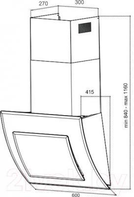 Вытяжка декоративная Grand Valencia 60 (HC6298F-S) - технический чертеж