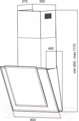 Вытяжка декоративная Grand Amelia (HC6225F-S) - технический чертеж