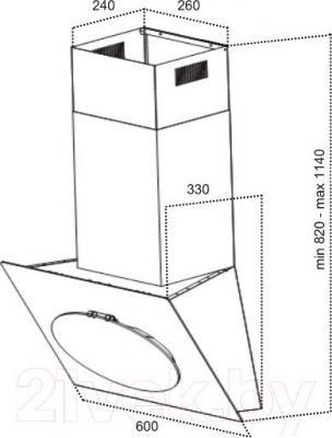Вытяжка декоративная Grand Vega 60 (HF6186A-SA, черный) - технический чертеж