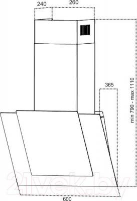 Вытяжка декоративная Grand Modena Sensor 60 (HC62119F-B) - технический чертеж