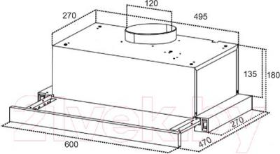 Вытяжка телескопическая Grand Toledo 60 (HB6202C-S) - технический чертеж